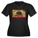 California Flag Women's Plus Size V-Neck Dark T-Sh