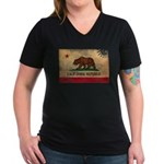 California Flag Women's V-Neck Dark T-Shirt
