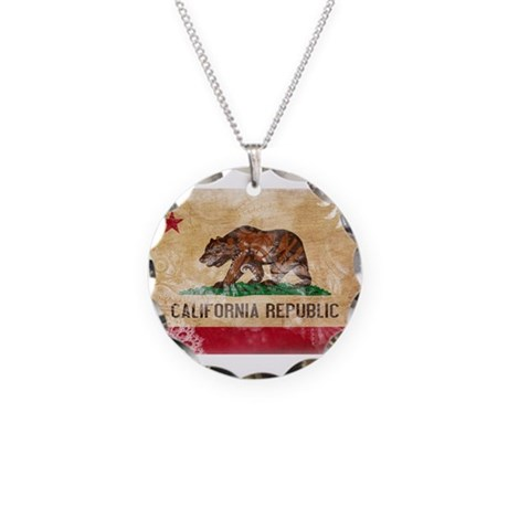 California Flag Necklace Circle Charm