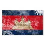 Cambodia Flag Sticker (Rectangle 50 pk)