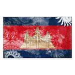 Cambodia Flag Sticker (Rectangle 10 pk)