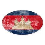 Cambodia Flag Sticker (Oval 50 pk)