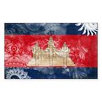 Cambodia Flag Sticker (Rectangle)
