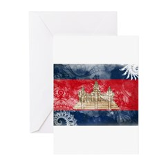 Cambodia Flag Greeting Cards (Pk of 10)