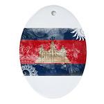 Cambodia Flag Ornament (Oval)
