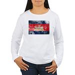 Cambodia Flag Women's Long Sleeve T-Shirt