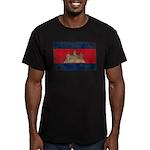 Cambodia Flag Men's Fitted T-Shirt (dark)
