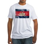 Cambodia Flag Fitted T-Shirt
