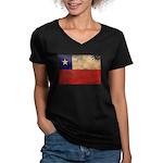 Chile Flag Women's V-Neck Dark T-Shirt