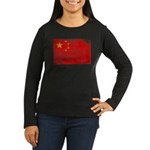 China Flag Women's Long Sleeve Dark T-Shirt