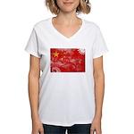 China Flag Women's V-Neck T-Shirt