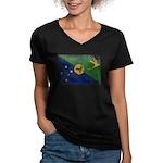 Christmas Island Flag Women's V-Neck Dark T-Shirt