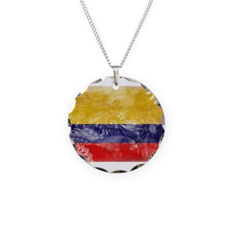 Colombia Flag Necklace Circle Charm