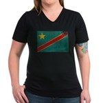 Congo Flag Women's V-Neck Dark T-Shirt