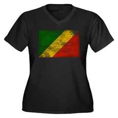 Congo Republic Flag Women's Plus Size V-Neck Dark