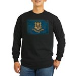 Connecticut Flag Long Sleeve Dark T-Shirt