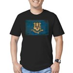 Connecticut Flag Men's Fitted T-Shirt (dark)