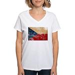 Czech Republic Flag Women's V-Neck T-Shirt