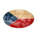 Czech Republic Flag 38.5 x 24.5 Oval Wall Peel