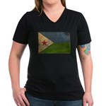 Djibouti Flag Women's V-Neck Dark T-Shirt
