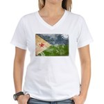 Djibouti Flag Women's V-Neck T-Shirt