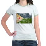 Djibouti Flag Jr. Ringer T-Shirt