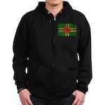 Dominica Flag Zip Hoodie (dark)
