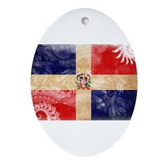 Dominican Republic Flag Ornament (Oval)