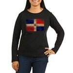 Dominican Republic Flag Women's Long Sleeve Dark T