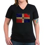Dominican Republic Flag Women's V-Neck Dark T-Shir