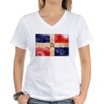 Dominican Republic Flag Women's V-Neck T-Shirt