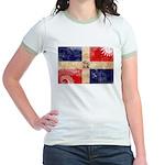 Dominican Republic Flag Jr. Ringer T-Shirt