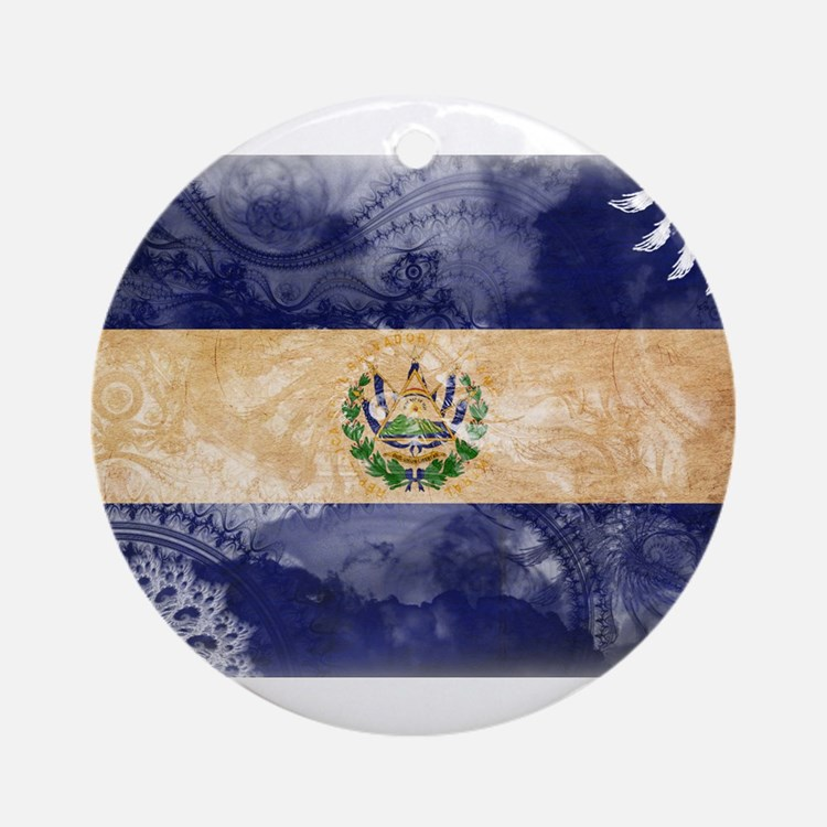 El Salvador Flag Ornament (Round)