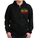Ethiopia Flag Zip Hoodie (dark)