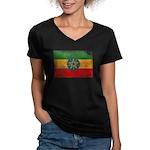 Ethiopia Flag Women's V-Neck Dark T-Shirt