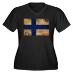 Finland Flag Women's Plus Size V-Neck Dark T-Shirt