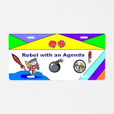 Comical Rebel and Agenda Aluminum License Plate