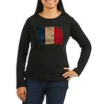France Flag Women's Long Sleeve Dark T-Shirt