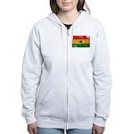 Ghana Flag Women's Zip Hoodie