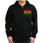 Ghana Flag Zip Hoodie (dark)
