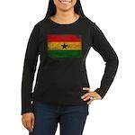 Ghana Flag Women's Long Sleeve Dark T-Shirt