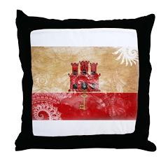 Gibraltar Flag Throw Pillow