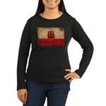 Gibraltar Flag Women's Long Sleeve Dark T-Shirt