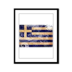 Greece Flag Framed Panel Print