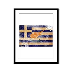 Greek Cyprus Flag Framed Panel Print