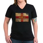 Guernsey Flag Women's V-Neck Dark T-Shirt