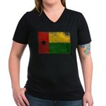 Guinea Bissau Flag Women's V-Neck Dark T-Shirt