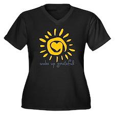Wake Up Grat Women's Plus Size V-Neck Dark T-Shirt