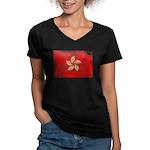 Hong Kong Flag Women's V-Neck Dark T-Shirt