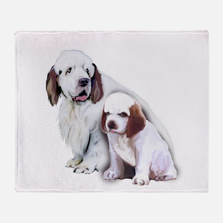 Clumber Mom and Pup Throw Blanket